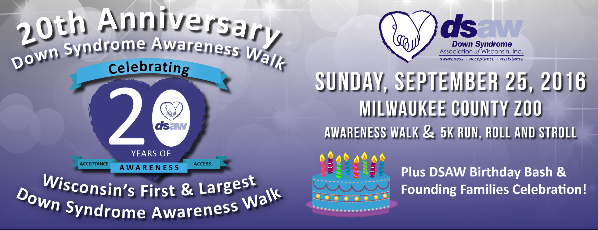 20th Anniversary Statewide Down Syndrome Awareness Walk & 5K Run, Roll & Stroll